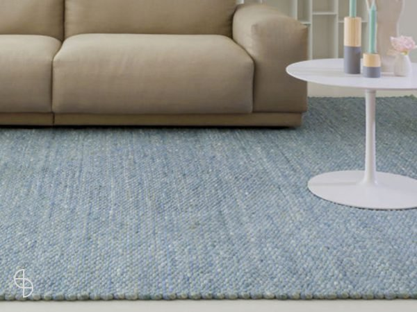 Perletta vloerkleden zwolle limone licht blauw wol