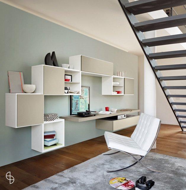 Werkplek woonkamer kastenwand for Kantoor interieur design