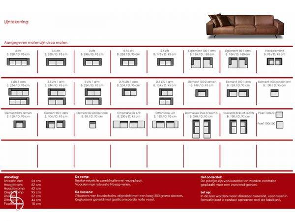 Afmetingen Nomad bank Cartel Living Spinde Next Zwolle 1
