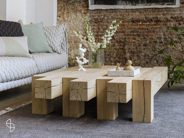 Qliv stoere houten salontafel Adjust zwolle