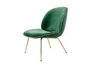 Beetle lounge gubi groene verlours stoel