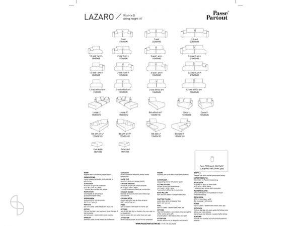 Lazaro bank Passe Partout afmetingen maten